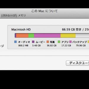 """MacBookAirのSSD 空き容量が増えない!""""バックアップ""""と表示される容量を削除した"""