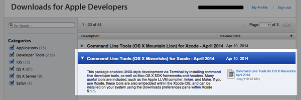 Command line tools xcode