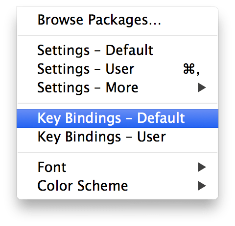 sublime text 2 key bindings 設定