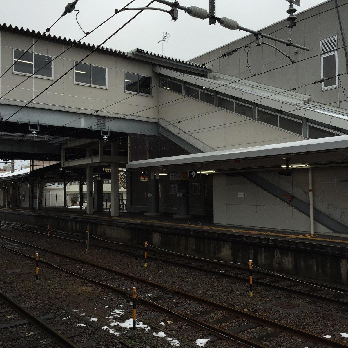 陸橋を渡る 豊岡駅