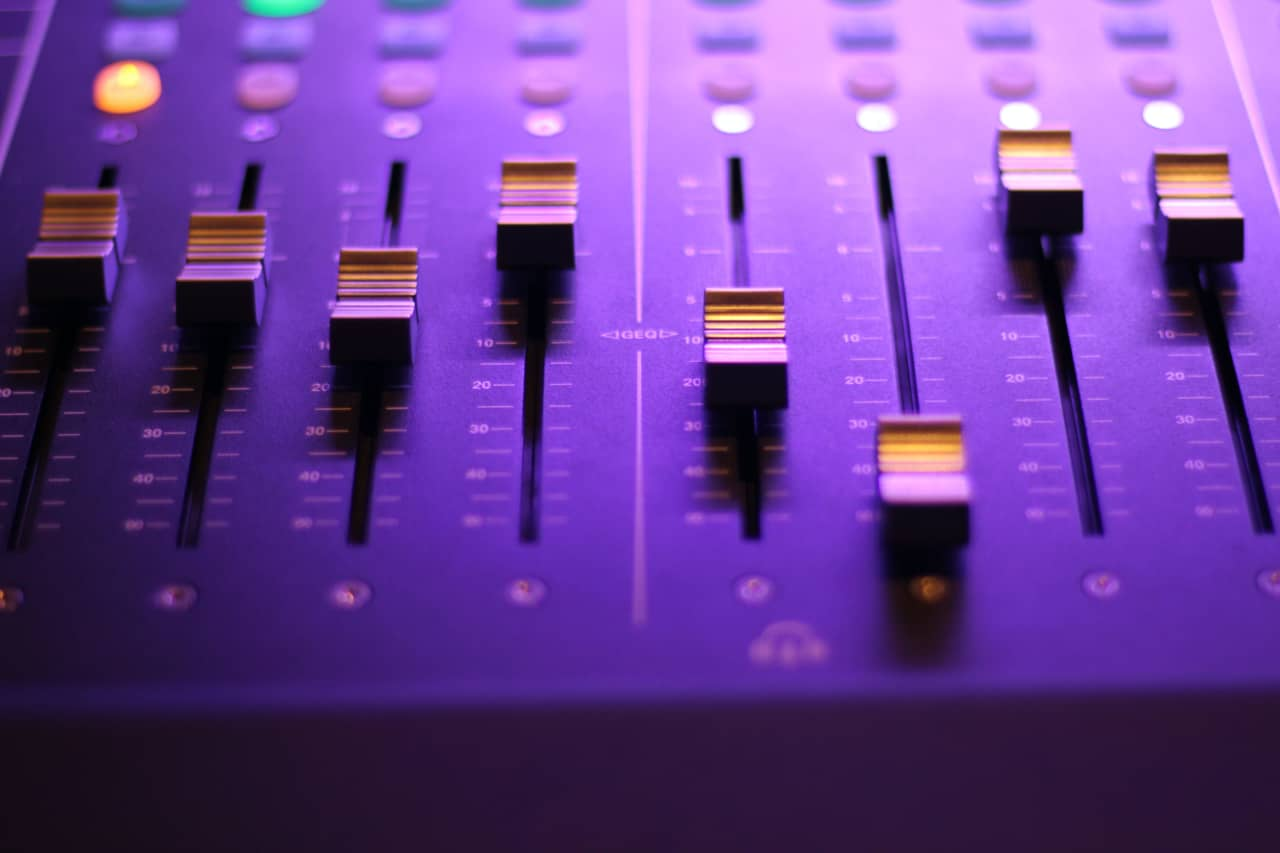closeup photo of audio mixer